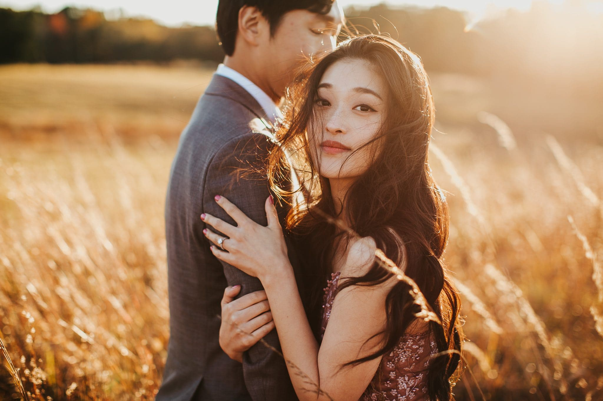 gorgeous sunset engagement