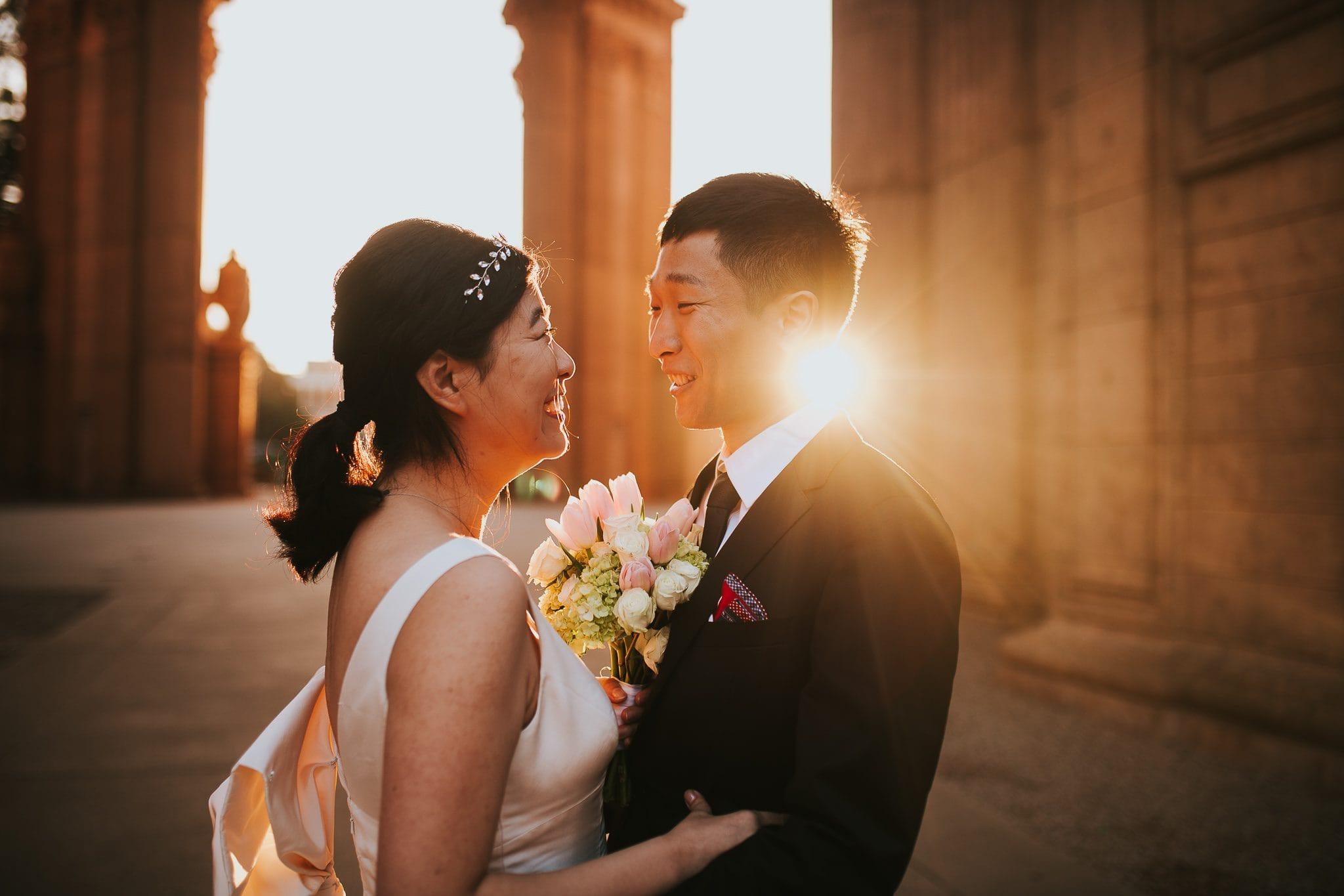 palace of fine arts san francisco wedding sunrise