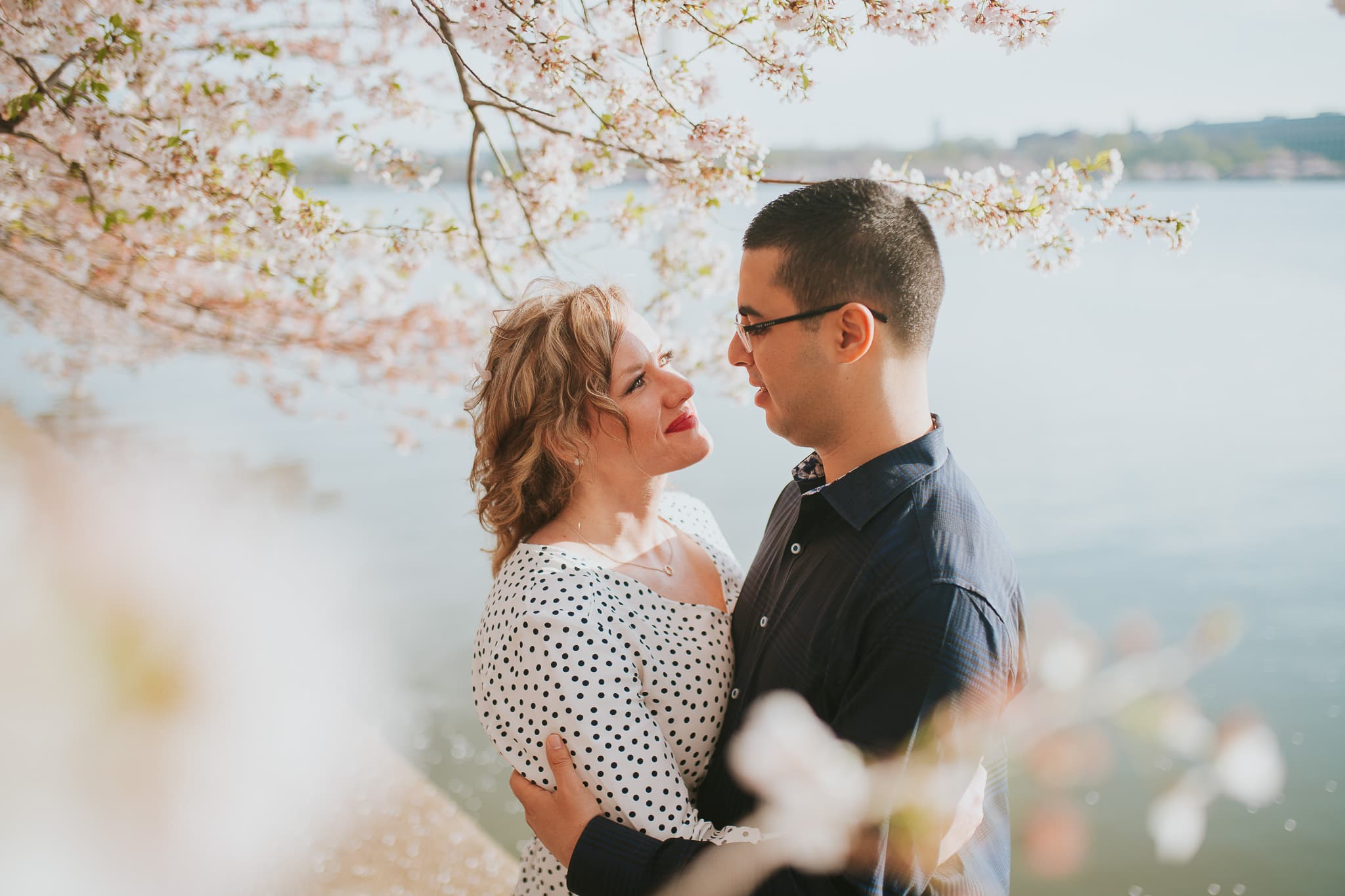 engagement photos during the cherry blossom festival